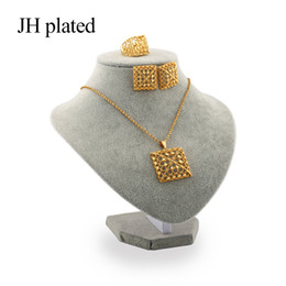 Best Christmas Gift Sets Australia - JHplated African Fashion gold color jewelry sets women best gifts Party wedding Necklace and Earrings ring sets 45cm Pendant Gift