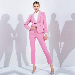 dcf7f2c809b1 Pink Women Elegant Pant Suits OL Formal Work Wear 2 Piece Set Blazer Female  Office Uniform Slim Fit Ladies Trouser Suit