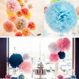 pompoms decorations NZ - 6PCS Tissue Paper Pom Poms Flowers Balls Wedding Decorations Party Decorations Adult Baby Shower Deco Mariage Paper pompoms
