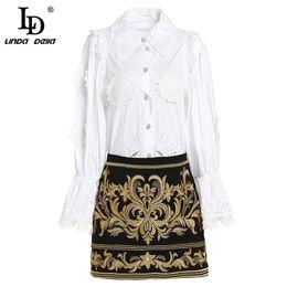b6cb0a0c49 LD LINDA DELLA Fashion Runway Short Skirt Two Pieces Set Women Elegant White  Blouses + Flower Embroidered Mini Skirts Sets Suit