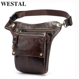 Leather Leg Australia - Westal Genuine Leather In Waist Motorcycle Fanny Pack Belt Bags Phone Pouch Travel Male Small Leg Bag Tactical 3237 J190521