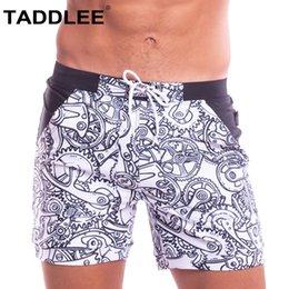Wholesale trunk bikini men resale online - Taddlee Brand Swimwear Men Swimming Boxer Briefs Bikini Sexy Swimsuits Bathing Suits Quick Drying Boardshorts Surf Trunks Pocket