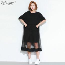 $enCountryForm.capitalKeyWord NZ - Plus Size Summer Women Loose T Shirt Dress Cotton Mesh Patchwork Black Tees Tops European O Neck Short Sleeve Women Long Tshirts