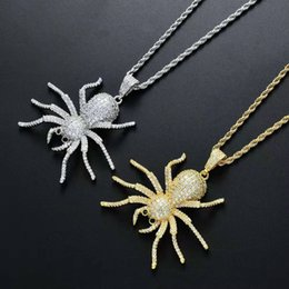 gold twisted chains for men 2019 - hip hop spider necklaces for men women luxury animal insect diamonds pendants 18k gold plated copper zircons chain jewel