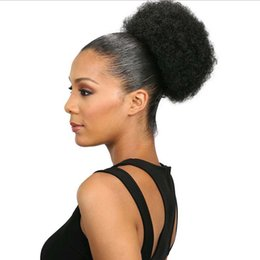 synthetic hair wholesalers NZ - Cheap Women kinky curly Drawstring ponytail High Temperature Fiber clip ponytail Synthetic hair afro curly puff on Synthetic Curly Hair Bun