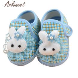 $enCountryForm.capitalKeyWord Australia - Newborn Girls baby cotton fabric Canvas Anti-slip Shoes lace bunny print Blue Sneaker Toddle Baby Cloth Crib Shoes
