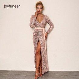 2e1a2a1b9207 Joyfunear Sexy Club Wear Party Dress Womens Pink Gold Knot Deep V Neck  Twist Front High Slit Long Sleeve Sequin Maxi Dress Q190409
