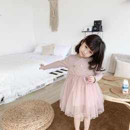 Cotton lyCra blend online shopping - clothes girl dresses kids br girls Solid color long sleeve sweater mesh stitching Dress top quality baby girl clothes