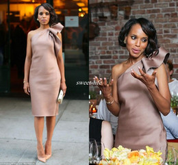 long coral maternity bridesmaid dresses 2019 - New Kerry Washington Celebrity Dress Bridesmaid Party Gowns One Shoulder Bow Satin Knee Length Sheath Dusty Blush Club C