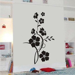 black wall art vines UK - Black Elegant Flower VIne Art Stickers PVC Creative Plant Wall Stickers for Living Room Bedroom Decoration