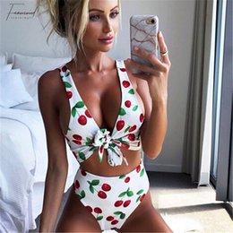 HigH waist swimwear online shopping - Women Cherry Suit Printed Bikini Set Sexy High Waist Push Up Bandage Swimsuit Bathing Beach Swimwear Biquni Maillot De Bain