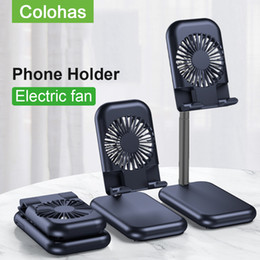usb fan for phone UK - Adjustable Desk Phone Holder Fan Desktop Portable Tablet Phone Holder Stand For iPhone Table Cell phone stand holder With USB Mini Fan