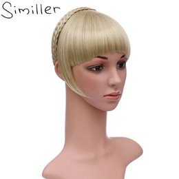 synthetic hair bang hairpiece NZ - Synthetic Bangs Similler Synthetic Hair Neat Fringe With Braids Headband Blunt Bangs Hair Extensions for Women Hairpieces