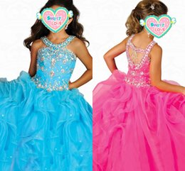 Holy dresses online shopping - Halter Beaded Crystals Pink Girls Pageant Dresses Tiered Ruffles Flower Girls Dress Rhinestones Ball Gown Glitz Girls Holy Party Dress