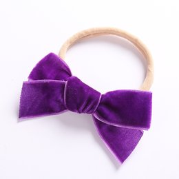 elastic plastic hairbands NZ - Newborn Baby Velvet Headbands Baby Girls Bow Hair Bands Head Bands Elastic Soft Girls Hairbands For Toddler Hair Accessories