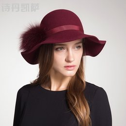 f3ee7562 Wool Winter Hats for Women 2018 Wide Brim Fedora Hat Spring Autumn Pompoms  Ball Hat Felt Hats Topper Cap Wedding Female