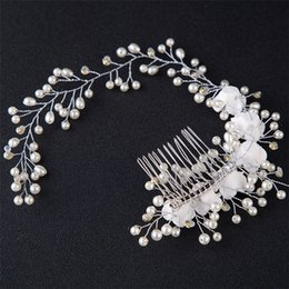 Women Beautiful Hair Australia - Handmade Beautiful Bridal Flower Headpiece Hair Comb Pearls Wedding Prom Hair Jewelry Accessories For Prom Lady Women Hairwear