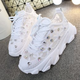 shoes sneakers wedge woman Australia - Rhinestone Wedge Sneakers Women Trainers Dames Chunky Platform 2019 White Sneaker Casual Shoes Woman Chaussures Femme MX190723