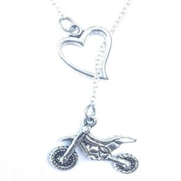 $enCountryForm.capitalKeyWord UK - Love Heart Lariat Off-road Motocross Necklaces Pendant Vintage Silver Punk Collares Choker Friendship Necklace Jewelry Women Personality