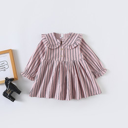 Wholesale strip clothing resale online – Baby Girls Spring Dress Kids Clothes Full Stripped Print long sleeve Pet Pan Collar Girl Dress Girl Children Casual Dresses