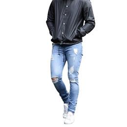 e23c31d8b4 Laamei Skinny Blue Jeans Hombres Otoño Vintage Pantalones de lápiz de  mezclilla Pantalones de estiramiento casual 2018 Sexy Agujero rasgado Hombre  Zipper ...