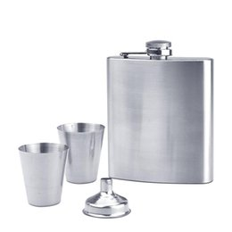 $enCountryForm.capitalKeyWord Australia - 7oz Stainless Steel Hip Flask Set Includes One Funnel Two Stainless Steel Cups Black Gift Box Package Travel Picnic Wine Bottle