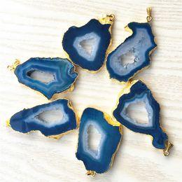 $enCountryForm.capitalKeyWord Australia - Natural Stone Brazilian Electroplated Edged Slice Open Blue Agates Geode Drusy Druzys Pendants For Necklace Jewelry Making 5pcs J190711