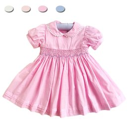 $enCountryForm.capitalKeyWord Australia - Kids Girl Toddler Smocked Dresses for 3 5 6 years Girls Clothes Party Princess Wedding School Smocking Floral Children DressMX190912