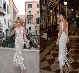 V neckline mermaid wedding dress online shopping - Berta Beach Wedding Dresses Beads Lace Appliqued Backless Plunging Neckline Vintage Bridal Gowns Ankle Length Wedding Dress