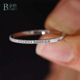$enCountryForm.capitalKeyWord Australia - BOAKO Full Micro Cubic Zirconia Wedding Band Rings for Women Girls Delicate CZ Crystal Rings Silver Dainty Thin Finger B40