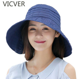 large brim hats for women Australia - New Ladies Summer Large Brim Sun Hat Solid Outdoor Beach Cap For Women Striped Breathable UV Protection Caps Casual Floppy Hats