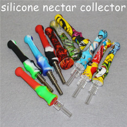 wholesale concentrate pipes NZ - 5pcs unbreakable Retail silicone nectar collector kit Concentrate smoke Pipe with Titanium Tip Oil Rigs smoking accessories water pipes