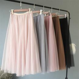 Discount swing mesh - Spring Elegant Tutu Skirt Women Big Swing Mesh Gauze Tulle Skirt Faldas High Waist Maxi Long Skirt Pleated Skirts Womens