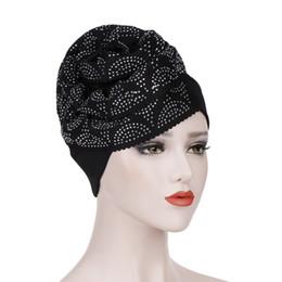 Red Hair Fashion UK - Muslim Women Drill Big Flower Silk Cotton Turban Hat Cancer Chemo Beanies Headwear Bonnet Headwrap Hair Cap Accessories