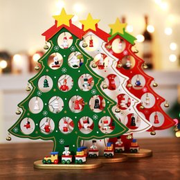 christmas ornament displays NZ - Wood Christmas tree desktop DIY mini christmas tree artificial ornaments scene window display decorations for home