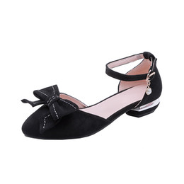 flat sandals for women pink Canada - Women Flat Sandals with Buckle Cover Heel Shoes for Office Ladies Footwear Black Pointed toe