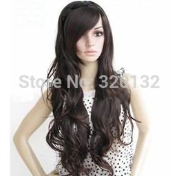 $enCountryForm.capitalKeyWord Australia - Women Dark Brown Long Curly Oblique Bangs Heat Resistant Cosplay Hair Full Wig Hair wigs Free Shipping