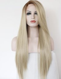 $enCountryForm.capitalKeyWord Australia - Long Synthetic Lace Front Wigs Straight Wig T4 613 Blond Hair Wigs European and American Women Long Wig High Temperature Fiber Hair