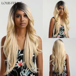 light pink long wavy wig UK - LOUIS FERRE Long Wavy Cosplay Wig Costume Party Ombre Black Light Blonde High Temperature Synthetic Hair Wigs Side Part Wigs