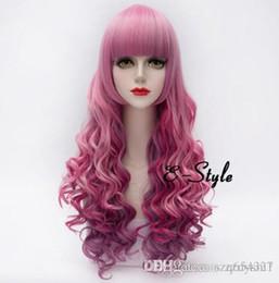 $enCountryForm.capitalKeyWord Australia - Cute Dyeing Pink and Lilac Loose Curly Long Wigs Side Parting Gradient Color Natural Wave Cosplay Hair Girl Costume Wig