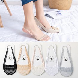 $enCountryForm.capitalKeyWord Australia - Wholesale fashion ladies half feet without heel slings wild wavy side light breathable high heels flat shoes lace stockings free shipping