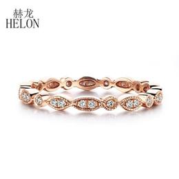 $enCountryForm.capitalKeyWord Australia - Helon Natural Diamond Band Antique Art Deco Solid 10 -carat Rose Gold Diamonds Engagement Wedding Ring Precious Jewelry Women Y19070902