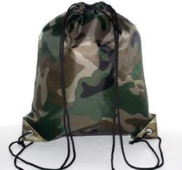 Drawstring Packaging Bags Wholesale UK - large Camouflage Drawstring Bags 210D Waterproof packaging Drawstring Backpack Camo Gym Bag School Sport Outdoor Shoe Bag