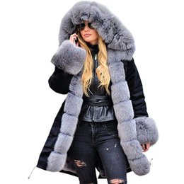 Wholesale Winter Warm Coat Hooded Parkas With Faux Fur Collar Camouflage Coats Long Sleeve Warm Camo Ladies Jackets Plus Size XL