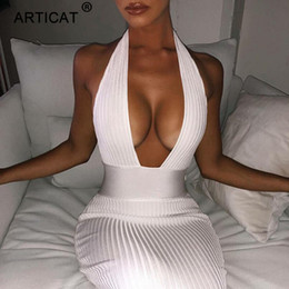 $enCountryForm.capitalKeyWord NZ - Articat Halter Backless Sexy Knitted Pencil Dress Women White Off Shoulder Long Bodycon Party Dress Elegant Autumn Winter Dress S403