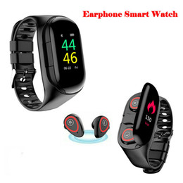$enCountryForm.capitalKeyWord Australia - Wireless Bluetooth Earphone Smart Watch with Heart Rate Blood Pressure Monitor Sports Bracelet for IOS Android Phone