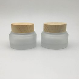 frosted cream jar cap Australia - 30g Travel Jars for Creams Cosmetic Can Set Wood Grain Frosted Glass Portable Cream Box 1oz Glass Container