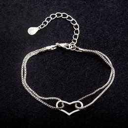 Fresh Bracelets Australia - double layer bracelet with charms heart bracelets fresh and elegant wild simple sweet double-layer love bracelet