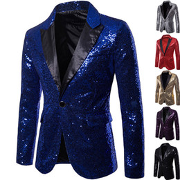 glitter clothes UK - Shiny Gold Sequin Glitter Embellished Blazer Jacket Men Nightclub Prom Suit Blazer Men Costume Homme Stage Clothes For singers