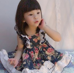 girl dresses blue embroidery Australia - Summer girls outifts kids floral printed falbala fly sleeve Bows princess dress+lace hollow embroidery falbala hat+shorts 3pcs sets F8106